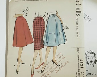 """1959 McCall's 5121 Misses Skirt Size 24.5"""" Waist Cut Complete Sewing Pattern ReTrO Classy!"""