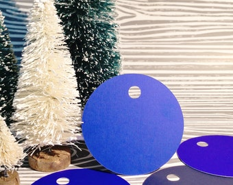Christmas Gift Tags- Blue Round Gift Tag Set of 20 Includes Silver Wire, Blue Gift Tags, Gift Tags, Holiday Gift Tags, Christmas Gift Wrap