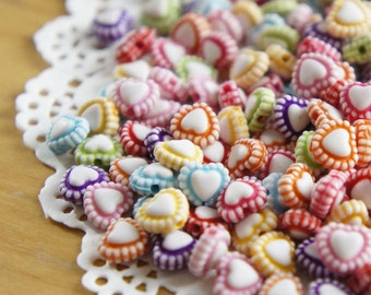 Cute Rainbow Coloured Heart-Shape Beads (50pcs)