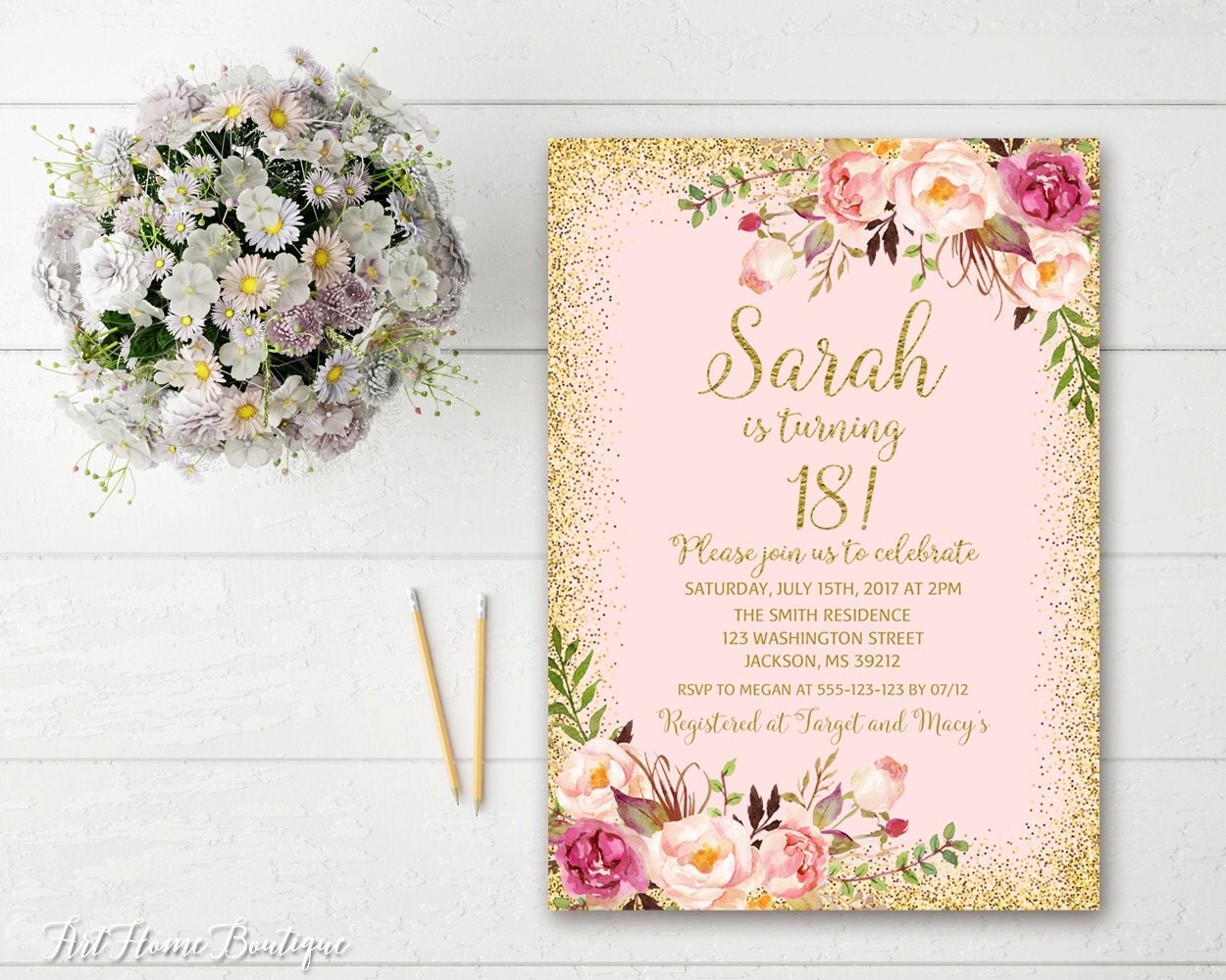 18th Birthday Invitation Any Age Women Birthday Invitation – Invitations 18th Birthday
