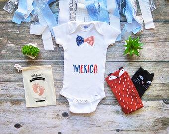 Patriotic USA Baby Onesie - Bow Tie 'Merica Onesie - Onesies for Military Babies - 4th of July Onesies for Babies - Baby Boy Onesies - M294