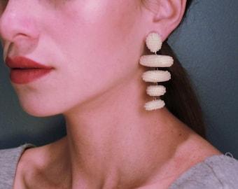beaded tassel earrings-tassel earrings-beaded dangle earring-statement earrings-fancy-trendy-handmade long earrings-beadwork fashion jewelry