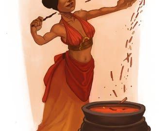 Red Tea Witch Print • fine art print • illustration