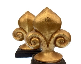 1 Pair of Gold Painted Fleur de lis Bookends perfect MARDI GRAS DECOR or for a New Orleans Saints Fan! Think Office or Study Decor.