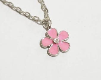 Pink Flower Pendant Necklace -Charm Necklace - Antique Silver Chain Necklace- Bohemian Hobo Style