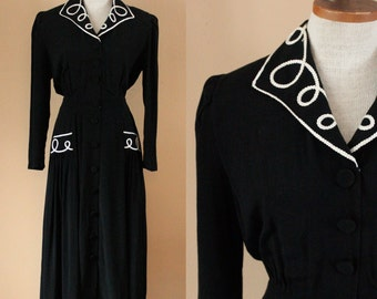 70s Does 40s Dress // Black Karen Stevens Dress