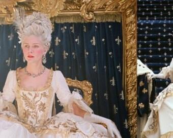 Custom Made Marie Antoinette Silk Taffeta and Gold Sequin Wedding Dress
