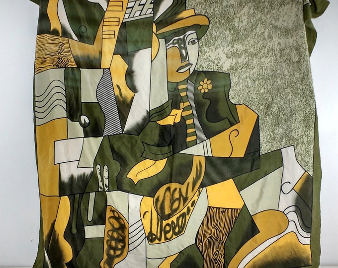Green Picasso scarf, large silk scarf in green, yellow and white featuring man with hat, wallhanging, ladies accessory, spring launch green