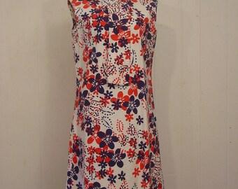 Vintage dress, mod dress, Vouge dress, red white blue, 1960s dress, vintage clothing, Large