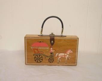 Vintage purse, box purse, Gary Gails purse, hand painted, 1960s purse
