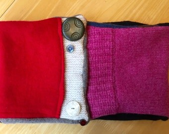 Handmade Neck Warmer Scarves Made From Up-Cycled Cashmere Wool And 100% Merino Wool, decorated With Vintage Buttons