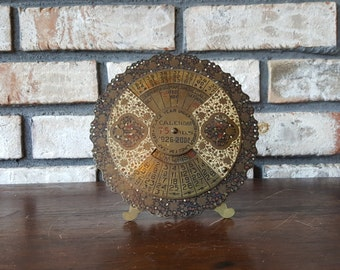 Antique Brass Calendar, Victorian Brass Calendar, Spinning Perpetual Calendar Filigree, Brass Desk Calendar With Floral Decor