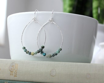 Hammered Sterling Silver and African Turquoise Teardrop Earrings