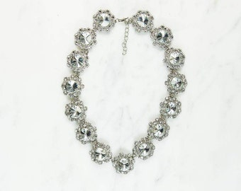 Rosetta Clear Gem & Rhinestone Encrusted Statement Choker