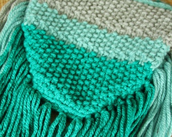 Purse Bag Fringe Cross Body Boho Knit Ombre Bag