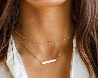 Personalized Bar Necklace   Initial Bar Necklace   Gold Name Bar   Layer Necklace Set   Monogram Necklace, Name Necklace, Personalize Choker
