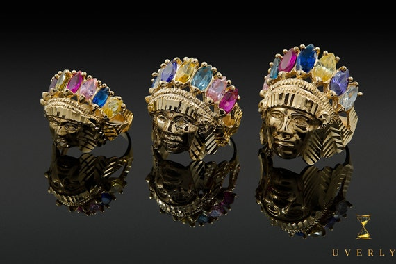 14k Solid Yellow Gold Indian Head Men's Ring Uverly Luxury Jewelry