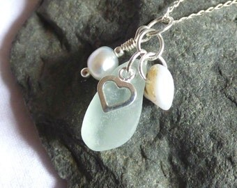 Sea Glass Pendant, Cluster Necklace, Sea Glass Jewelry, Heart Charm, Sterling Silver, Seaglass Jewellery, Shell, Pearl - PI17007