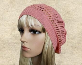 Knitted summer beret, Lace knit beret hat, Women's knit beret, Lightweight beret, Breathing beret, Summer knit hat, Summer knit beanie