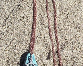 sail away with me sea glass and aged copper pendant