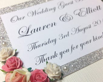 Personalised Vintage Style Wedding Guestbook with Roses and Glitter