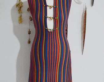 Vintage 70's Rainbow Knit Striped Mini Dress