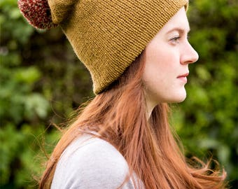 Mustard Yellow Beanie with Red Pom Pom
