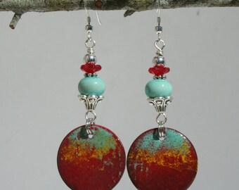 Enameled copper earrings in southwest colors