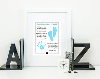Walk With Me Daddy Poem, Hand Prints Gift, Footprints Gift, Personalized Print, Father's Day Gift, Gift for Dad, Digital Download, Printable