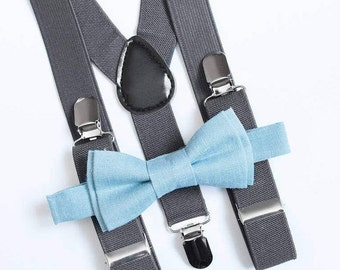 Boys bow tie Blue bow tie & Gray suspenders Boys suspenders Toddler bow tie and suspenders Ring bearer outfit Wedding outfit Back to school