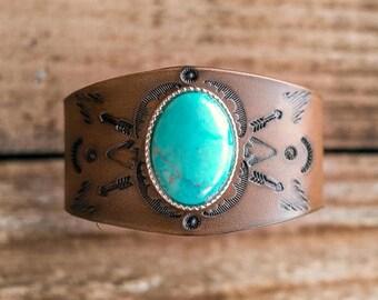 Boho Leather Turquoise Bangle, Southwest Leather Bracelet, Leather Bracelet, Native American Leather Bracelet, Turquoise Leather Bangle