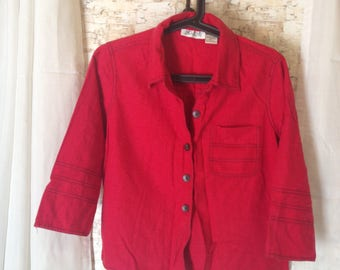 red jacket/shirt, linen top, sporty red top