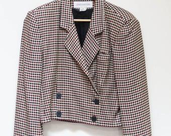 Vintage 80s Blazer Houndstooth Jones New York Womens Size 8 Retro Cutoff Blazer Cool 80s Blazer Shoulder Pads Made in USA