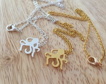 Octopus Necklace,  Silver Octopus Charm, Gold Octopus Charm, Cute Octopus Charm, Ocean Jewelry, Beach Necklace, Nautical Necklace