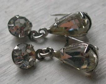 1950s Collar Point  Pins  Dainty Clear Rhinestone