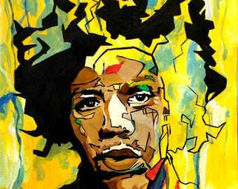 Jimi Hendrix Original Modern Impressionist Abstract Watercolor Musician Painting for Home Decor and Wall Art