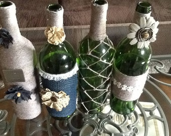 Decorative wine bottles, home decor, vintage home decor