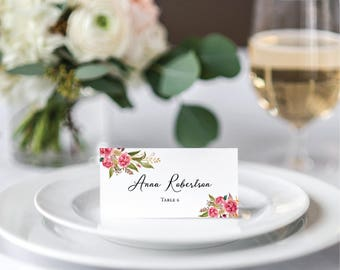 printable tented place cards personalized wedding placecards pink floral wedding name cards blush pink boho wedding foldable tent cards diy