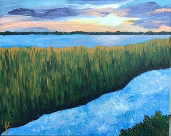 "Marshland - art wall décor acrylic painting, 20""x24"" canvas stretched/wrapped on 5/8"" bars"