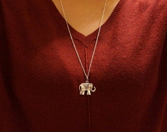 Elephant Pendant Necklace / Free Shipping / Long Necklace with Pendant / Elephant Jewelry / Silver Charm Necklace / Jewelry for Her