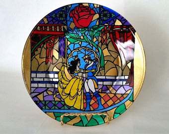 Beauty and the Beast Glass Plate