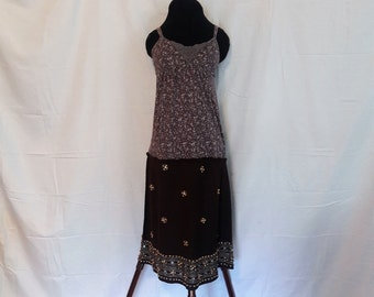 Minimalist Dress, Eco Dress, Linen Dress, Upcycled Hippie Dress, Boho Eco Friendly Dress, Beaded Hippie Dress, Linen and Cotton Dress