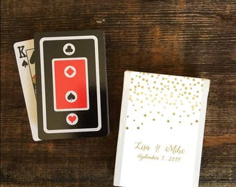 Custom Set Of 10 Gold Wedding Favor Playing Card Box Stickers Personalized Elegant
