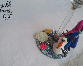 Personalised Disney Anna and Olaf Wine Glass