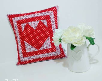 Heart quilted cusion