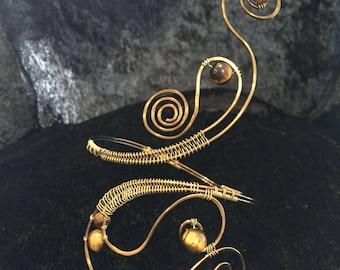 """Genuine gold brass, bronze tiger eye upper arm cuff or lower arm cuff antique / """"vintaj"""" vintage swirl spiral handmade bracelet wire wrapped"""