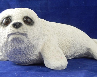 1987 Baby Harp Seal, an Animal Classics CC-049 by United Design Corporation with Original Sticker and Marking- Lifelike in Appearance
