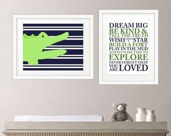Alligator Nursery Wall Print - Dream Big Wall Print - Nursery Wall Art - Printable Wall Print - Printable Wall Art - Nursery Typographic Art