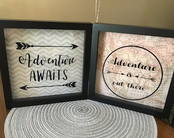 Adventure Awaits Shadow Box - Adventure is Out There Shadow Box - Adventure Shadow Box - Adventure Picture Frame - Adventure Home Decor