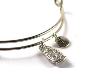 MATRYOSHKA DOLL bangle, silver Matryoshka bracelet, matryoshka doll charm, initial bracelet, adjustable bangle, personalized jewelry, gift